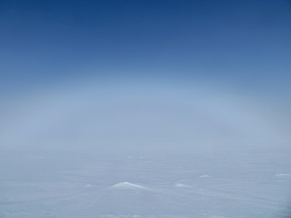The very faint fogbow. I used a slight image enhancement to accentuate the feature, as it was difficult to capture on camera