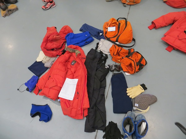 The Emergency Cold Weather gear I took to the ice, issued at the Clothing Distribution Center in Christchurch, New Zealand