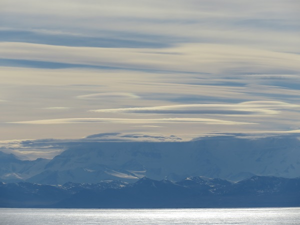 Layers of lenticular clouds over the Royal Society Range, which is across the McMurdo Ice Shelf from McMurdo