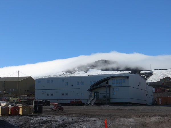 Fog rolling over the hills to the north of McMurdo. Taken from just outside our lab at Crary