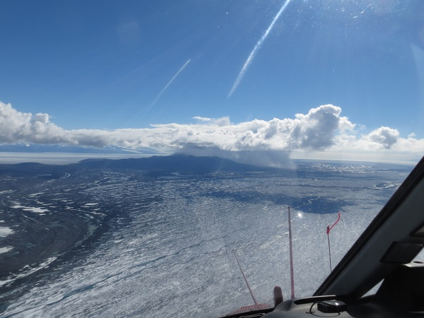Flying from Minna Bluff to Marble Point, we saw an isolated snow shower over Brown Peninsula