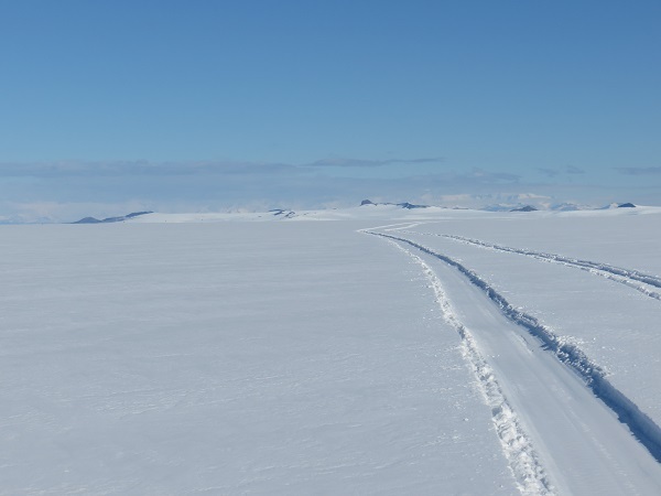 Looking back at town and our tracks when we arrived at Windless Bight AWS