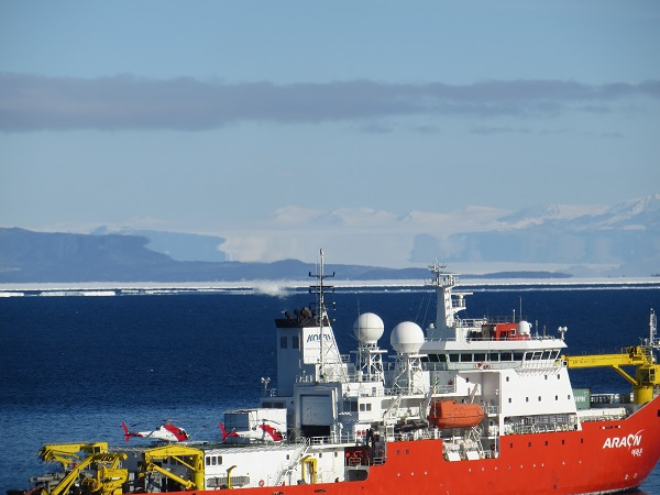 Fata morgana, evident above the ship on the horizon. The mountains definitely do not look like that!