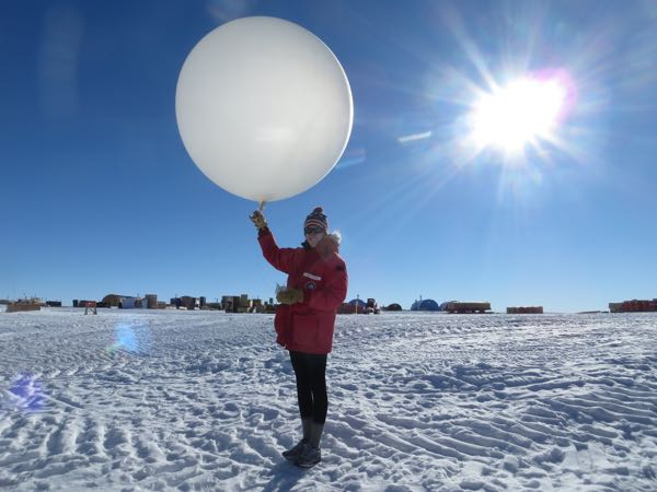 Carol doing a weather balloon launch at South Pole