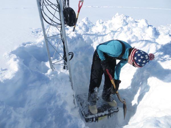 Carol picking the ice