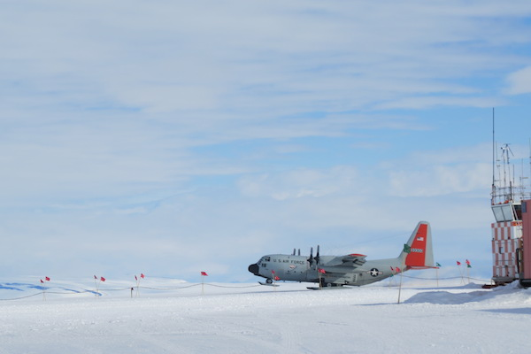 The Herc taking off from Willie Field and bringing us to Pole