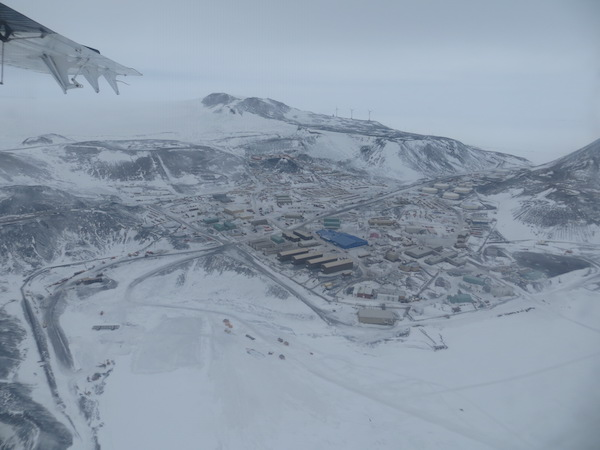 View of McMurdo Station from the Twin Otter on our way to Cape Hallett. It's still a snowy scene this early in the season.