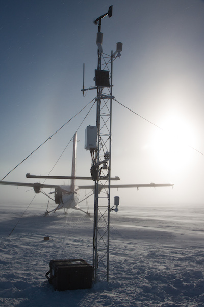 A new AWS! A new data point in Antarctica! And as you may be able to tell, the visibility decreased drastically by the end of our visit, and the winds had increased. (Photo credit: Mark)