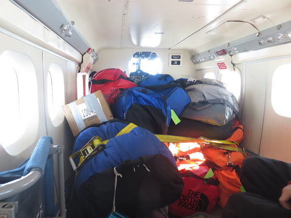 Five people's personal bags and sleep kits were stuffed into the Twin Otter.