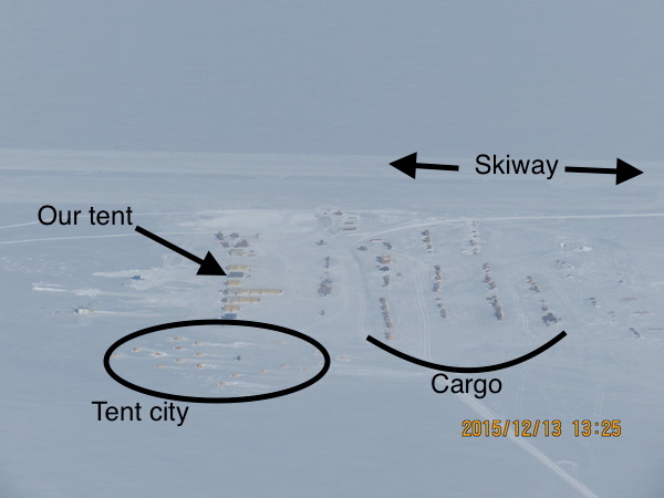 An annotated aerial view of WAIS camp.