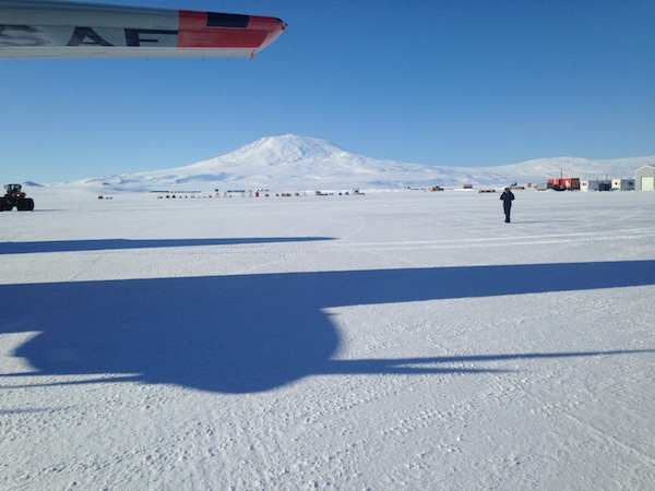 Our first views of Antarctica with Mt. Erebus in the background