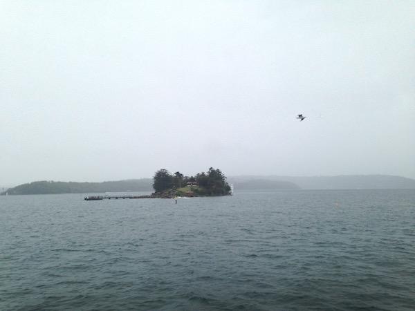 Very rainy and foggy day in the Sydney Harbor