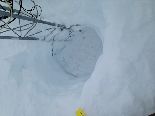 The 6 ft empty snow pit