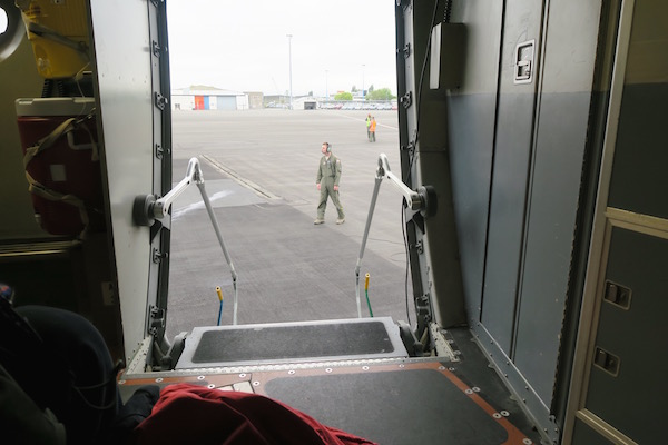 Looking out of the door of the C-17