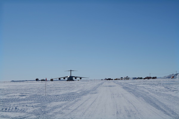 C-17 parked on Pegasus runway