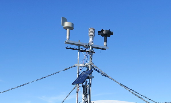 Minna Bluff AWS with a new high wind speed sensor